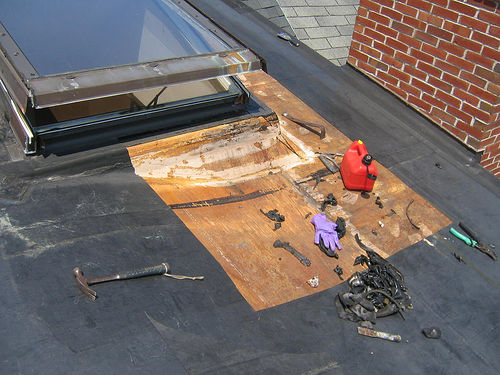 As you can imagine, a tiny leak when the roof was there would be a big problem if you were repairing it in a rainstorm.