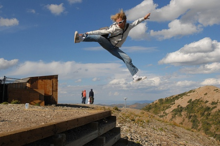 This youth, after the picture was taken, landed off the platform and tumbled about 100 feet down the side of a rocky hill. Odds are the thought of life altering injury never came to mind.