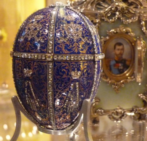 This is both rare and most excellent. This is the Twelve Monograms Fabergé egg, given by Tsar Nicholas to his mother.