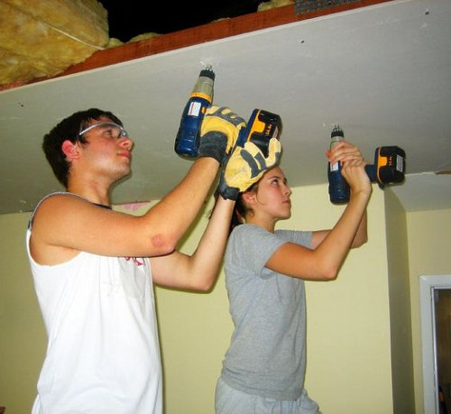Here a couple of volunteers help rebuild a house in Gulfport Mississippi after Katrina. This is one way to help in one disaster. But there are so many other ways.