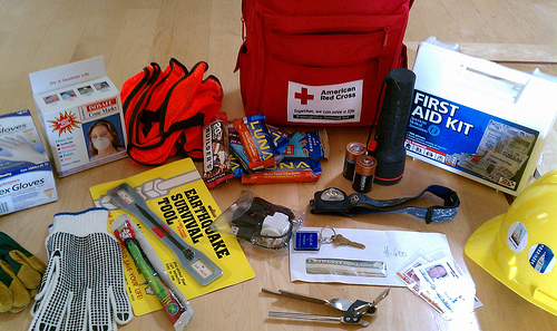 Someone's earthquake emergency bag. I'd add some chocolate. What would you add?