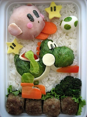 """Your lunch, it looks like a video game!"" (two, actually) Why would someone do that? Who would want to eat Kirby or Yoshi? I don't understand."
