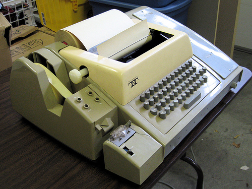 At one point in time this TTY was cutting edge equipment. Fortunately, most of us have examined our lives and found better ways to do our work.